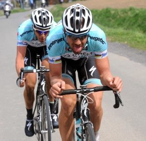 Tom Boonen leads an ecape in the 2012 Paris-Roubaix