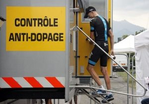 Chris Froome reporting to doping control.  Image courtesy Bettini Photo and Cyclingnews.com