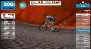 Training on the Zwift Island Volcano Expansion loop