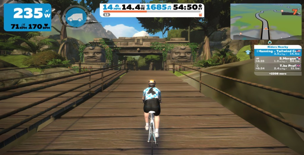 The bridge on the Zwift Mayan Expansion is a sharp kick